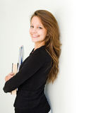 Happy young student girl. Royalty Free Stock Photos