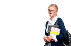 Happy young student girl holding books.  Back to school Royalty Free Stock Photo