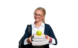 Happy young student girl holding books.  Back to school Royalty Free Stock Images
