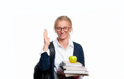 Happy young student girl holding books.  Back to school Royalty Free Stock Photos