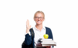Happy young student girl holding books.  Back to school Stock Image