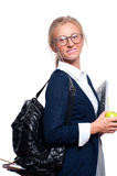 Happy young student girl holding books.  Back to school Stock Photography