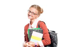 Happy young student girl holding books.  Back to school. Happy young student girl holding books, standing isolated on white background. Back to school Stock Photography