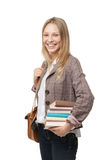 Happy young student girl holding books Stock Image