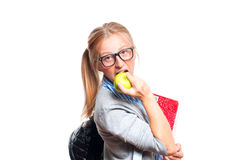 Happy young student girl holding books.  Back to school. Happy young student girl holding books, standing isolated on white background. Back to school Stock Images
