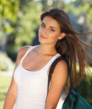 Happy young student outdoors Stock Images