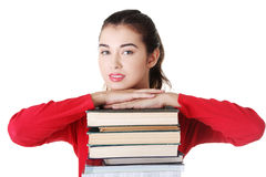 Happy young student woman with books Royalty Free Stock Image