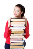 Happy young student woman with books Stock Photography