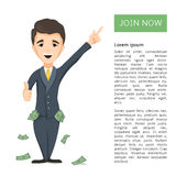 Happy young Successful Businessman. With pockets full of money pressing join now button. Technology and internet business concept. Vector cartoon illustration Stock Photo