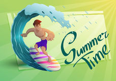 Happy young surfer guy character on the crest wave. Vector illustration. Stock Images