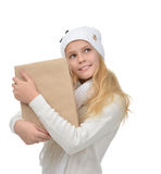 Happy young teen age girl with one parcel box. Isolates on a white background Royalty Free Stock Images