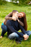 Happy young teenage couple outdoor Royalty Free Stock Photo