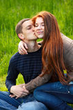 Happy young teenage couple outdoor Stock Photography