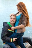 Happy young teenage couple outdoor Royalty Free Stock Photos