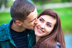 Happy young teenage couple outdoor Stock Photo
