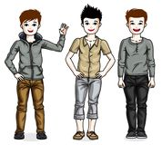 Happy young teenager boys posing in stylish casual clothes. Vect Stock Photography