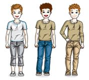 Happy young teenager boys posing wearing fashionable casual clot Stock Image