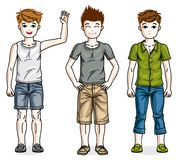 Happy young teenager boys posing wearing fashionable casual clot Stock Images