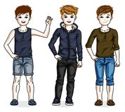 Happy young teenager boys posing wearing fashionable casual clot. Hes. Vector set of beautiful kids illustrations Royalty Free Stock Images