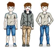 Happy young teenager boys posing wearing fashionable casual clot. Hes. Vector set of beautiful kids illustrations. Childhood and family lifestyle cartoons Royalty Free Stock Photography