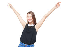 Happy young teenager girl with hands up isolated Royalty Free Stock Photos