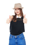 Happy young teenager girl showing thumbs up isolated Royalty Free Stock Images