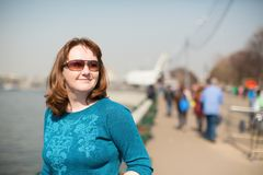 Happy young tourist in Moscow Royalty Free Stock Photography