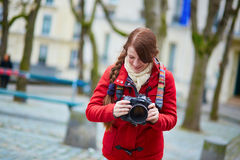 Happy young tourist in Paris Stock Photos