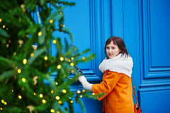 Happy young tourist in Paris on a winter day Royalty Free Stock Images