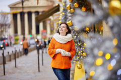 Happy young tourist in Paris on winter day Stock Image