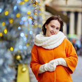 Happy young tourist in Paris on winter day Royalty Free Stock Photography