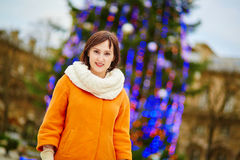 Happy young tourist in Paris on a winter day Royalty Free Stock Photos