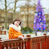 Happy young tourist in Paris on a winter day Royalty Free Stock Photography