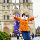 Happy young tourist in Paris on a winter day Stock Photo