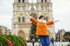 Happy young tourist in Paris on a winter day Stock Images