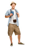 Happy young tourist travel passport isolated white background Stock Image