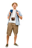 Happy young tourist travel passport isolated white background Stock Photos