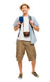 Happy young tourist travel passport isolated white background Stock Photo
