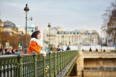 Happy young tourist walking in Paris Stock Images