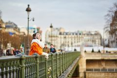 Happy young tourist walking in Paris Royalty Free Stock Photo