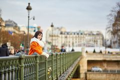 Happy young tourist walking in Paris Stock Photos