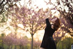 Happy young travel dancer woman enjoying free time in a sakura cherry blossom park - Caucasian white redhead girl - stock photos