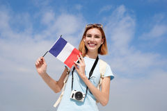 Happy young travel woman Stock Photography