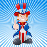 Happy Young Uncle Sam Vector. Vector Illustration of Cartoon Happy Patriotic Uncle Sam Character Showing Thumbs Up vector illustration