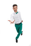 Happy young waiter represent hospitality. Royalty Free Stock Photos