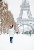 Happy young walking on Champ de Mars Stock Photography