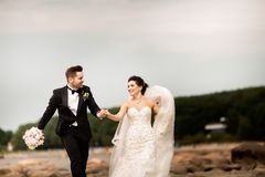 Happy young wedding couple having fun on the beach royalty free stock images