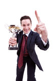 Happy young winner Royalty Free Stock Photo