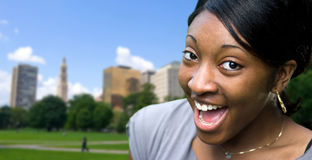 Happy Young Woman. A happy or surprised young black woman posing in Hartford Connecticut Stock Photos