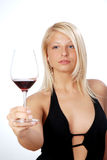 Happy young woman. A toast with red wine Stock Image